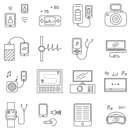 hard drive: Personal devices icon set. Collection vector elements on the topic of Personal devices . 16 line symbols in format EPS 10 for design website, companys visit card, logo and etc.