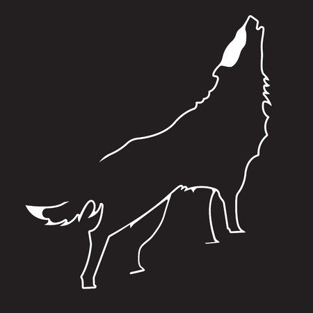 Wolf logo. Silhouette vector symbol of wolf for design companys logo, tattoo, visit card, etc. Monochrome sign of animal. Stock Photo