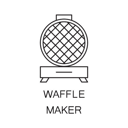crispy: Waffle iron icon. High quality outline element on the topic of Waffle iron . Vector black symbol for design of website, mobile app, infographics, presentation, companys visit card, logo.