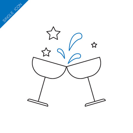 Glasses of champagne vector icon. Christmas vector icon. Button for websites, elements for booklets, leaflets, brochures, logos, etc