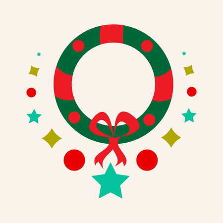 Christmas wreath vector icon. Christmas vector icon.Button for websites, elements for booklets, leaflets, brochures, logos, etc Stock Photo