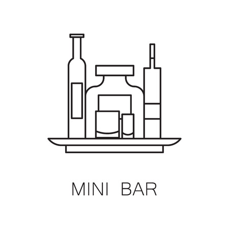 mini bar: Mini bar icon. High quality outline elements on the topic of Mini bar . Vector black symbols for design of website, mobile app, infographics, presentation, companys visit card, logo. Stock Photo