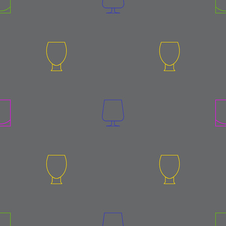 alcoholic beverages: Alcoholic beverages icon pattern. Line images and or silhouettes of bottles and glasses for drinks. Stock Photo