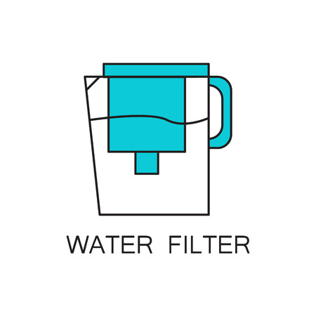 filtering: Water filter icon. Hhigh quality outline element on the topic of Water filter . Vector color symbol for design of website, mobile app