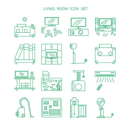 Muebles De Sala Y Electrodomésticos Conjunto De Iconos. Colección De ...