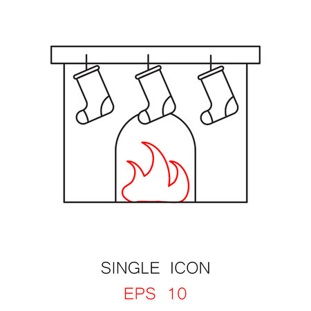 mantelpiece: Fireplace vector icon. Christmas fireplace vector icon. Button for websites, elements for booklets