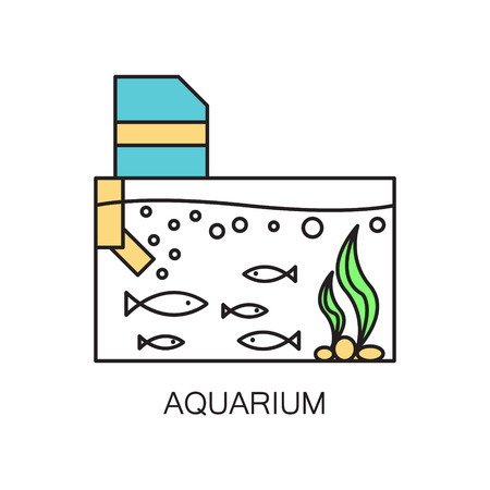 gold fish bowl: Aquarium line icon.