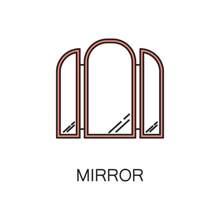 vanity: Mirror line icon. High quality pictogram of mirror for homes interior. Outline vector symbol for design website or mobile app. Thin line sign of mirror for logo, visit card, etc. Stock Photo