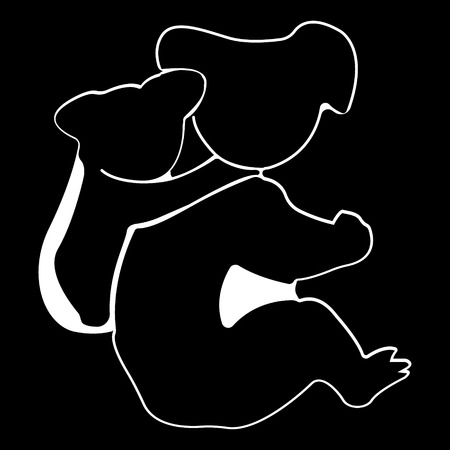 Koala logo. Silhouette vector symbol of koala for design companys logo, tattoo, visit card, etc. Monochrome sign of animal.