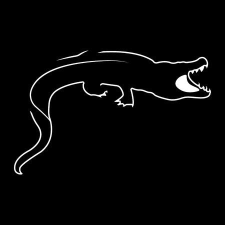 Crocodile. Silhouette vector symbol of crocodile Stock Photo