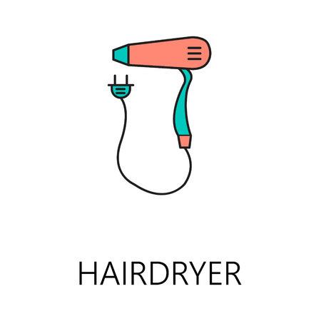 hairdryer: Hairdryer line icon. Stock Photo