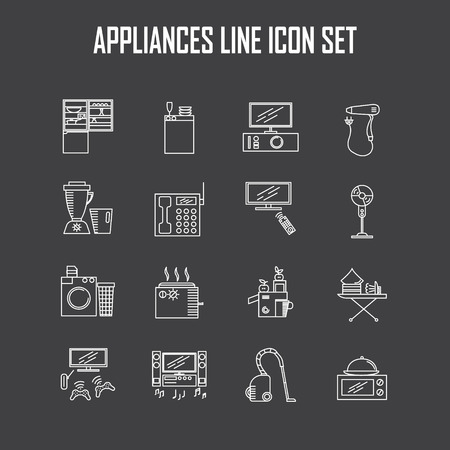 iron fan: Appliances line icon set. Collection of vector symbols on the topic of home electronic devices.
