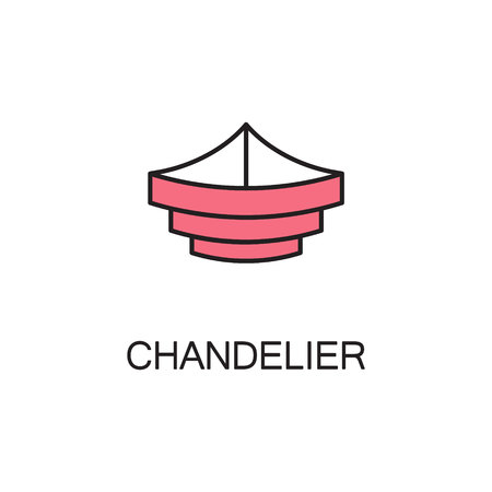 electric torch: Chandelier line icon. High quality pictogram of homes furniture. Outline vector symbol for design website or mobile app.