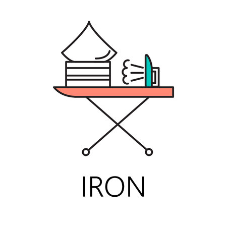 smoothing: Iron line icon. Vector symbol on the topic of home electronic devices. Color minimalist element for design of website, companys visit card, logo an etc. Iron vector icon eps 10.