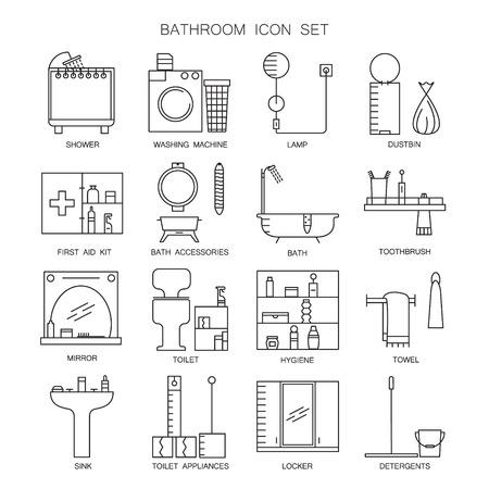 paper hanger: Bathroom icon set. Collection of high quality outline vector pictograms of bathroom furniture and appliances. 16 color line symbols for design website. mobile app