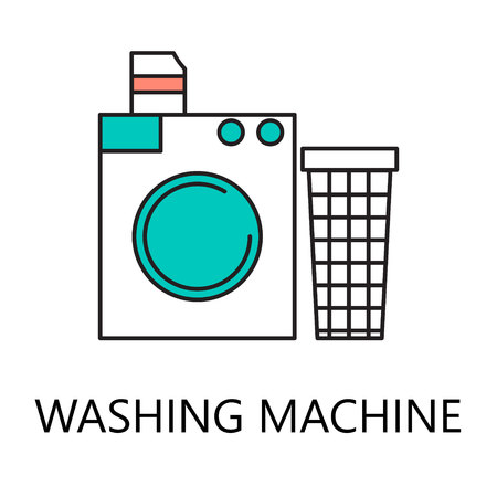 washhouse: Washing mashine line icon. Vector symbol on the topic of home electronic devices. Stock Photo