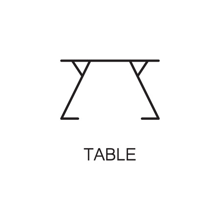 stud: Table line icon. High quality pictogram of table for homes interior. Outline vector symbol for design website or mobile app. Thin line sign of mirror for logo, visit card, etc.