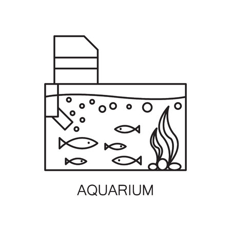gold fish bowl: Aquarium line icon. High quality outline vector pictogram on the topic of Aquarium . Black line elements for web design or mobile app, logo, companys visit card, etc. Vector button EPS 10.