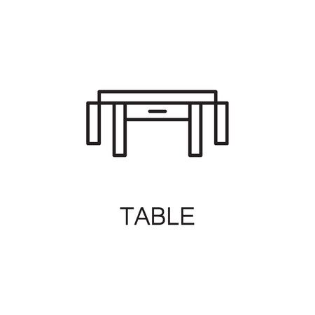 Table line icon. High quality pictogram of table for homes interior. Outline vector symbol for design website or mobile app. Thin line sign of mirror for logo, visit card, etc.
