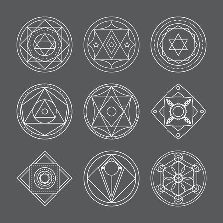 Alchemical round set. White symbols at gray background. Vector illustration of geometrical shape uniting in all composition. Color vector image. White logos for website,social media, company and etc.