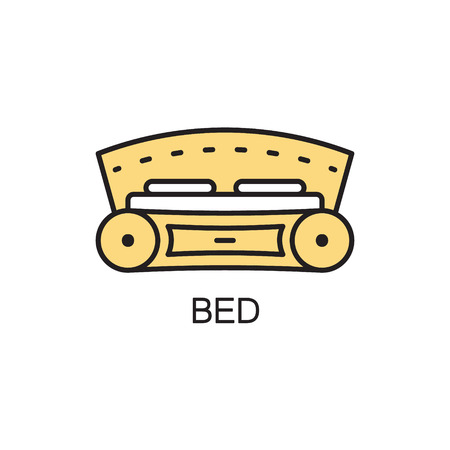 Bed line icon. High quality pictogram of homes furniture. Outline vector symbol for design website or mobile app.