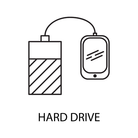 Hard drive line icon. Vector symbol on the topic of personal devices Stock Photo