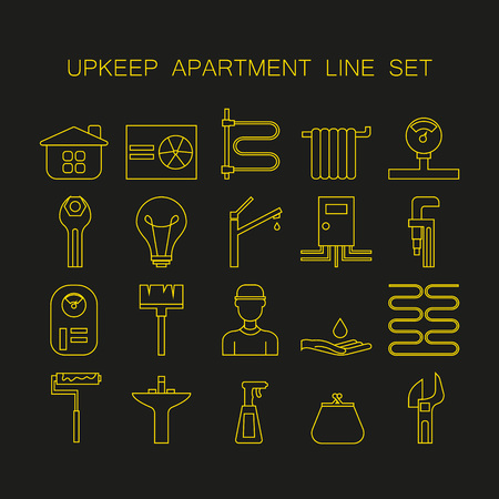 upkeep: Set of line icon of upkeep home. Collection high quality outline signs of elements for upkeep apartment. Stock Photo