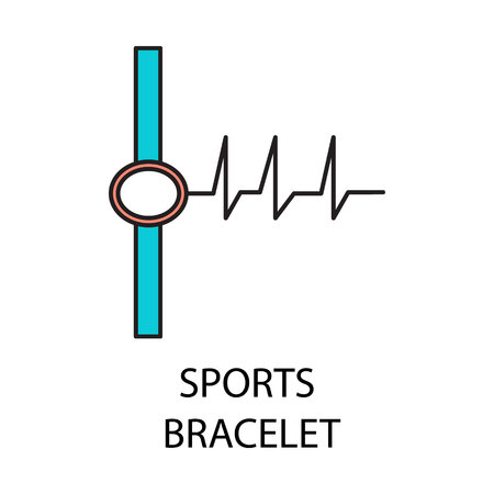 Sports bracelet line icon. Vector symbol on the topic of personal devices. Stock Photo