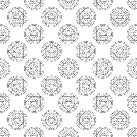 transmutation: Alchemical round seamless pattern. Vector illustration of geometrical shape uniting in all composition. Color vector image. Example for website,social media, company and etc. Illustration