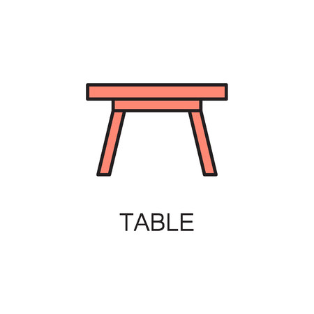 Table line icon. High quality pictogram of table for homes interior. Outline vector symbol for design website or mobile app. Thin line sign of mirror , visit card, etc.