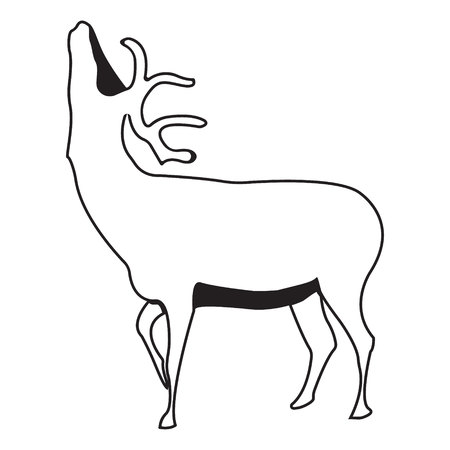 Deer . Silhouette vector symbol of deer for design companys , tattoo, visit card, etc. Monochrome sign of animal.