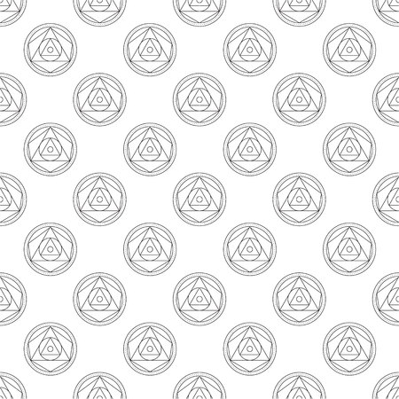 transmutation: Alchemical round seamless pattern. Vector illustration of geometrical shape uniting in all composition. Color vector image.