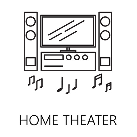 dvd room: Home theater line icon. Vector symbol on the topic of home electronic devices. Black minimalist element for design of website