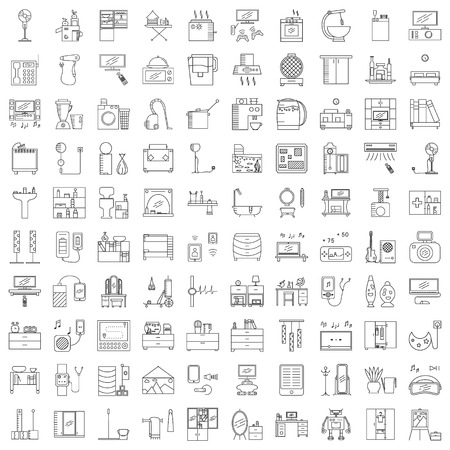 Home interior line icon. Collection of high quality outline pictograms of furniture, device and appliances.