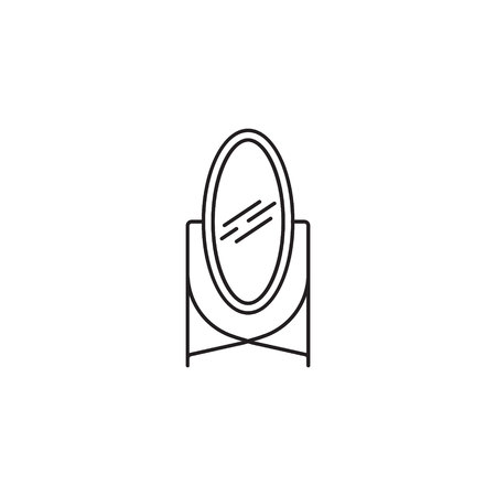 plated: Mirror line icon. High quality pictogram of mirror for homes interior. Outline vector symbol for design website or mobile app.