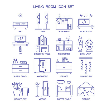 lava lamp: Bedroom icon set. Collection of high quality outline pictograms of element for bedrooms interior. Stock Photo