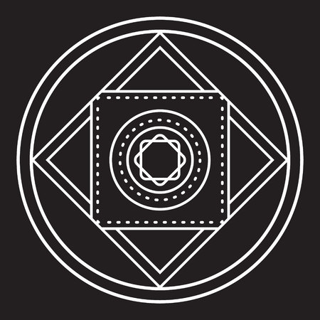 transmutation: Alchemical round. White symbol at black background. Vector illustration of geometrical shape uniting in all composition.