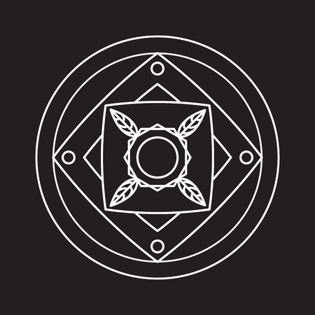 transmutation: Alchemical round. White symbol at black background. Vector illustration of geometrical shape uniting in all composition Stock Photo