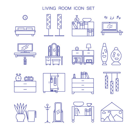 lava lamp: Bedroom icon set. Collection of high quality outline pictograms of elements for bedrooms interior.