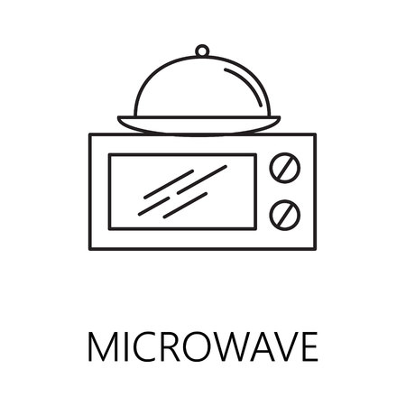 Microwave line icon. Vector symbol on the topic of home electronic devices. Black minimalist element for design of website, companys visit card