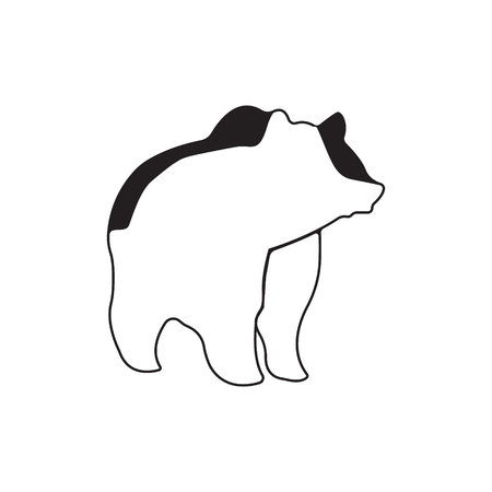 Bear. Silhouette vector symbol of bear for design company