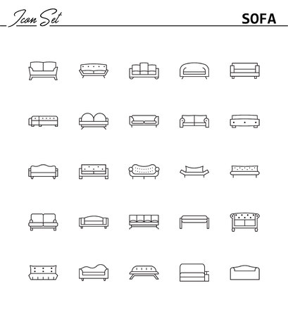 Sofa line icon. High quality outline vector pictogram on the topic of Sofa . Black line elements for web design or mobile app