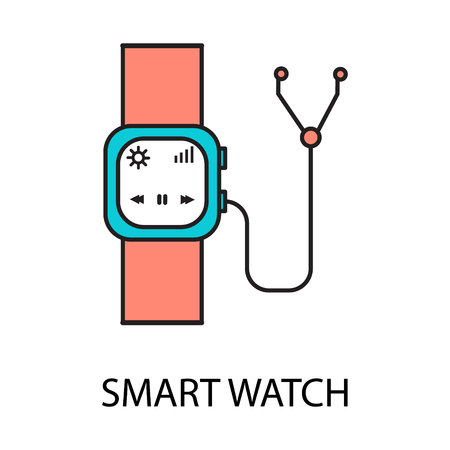 wireles: Smart watch line icon. Vector symbol on the topic of personal devices. Color minimalist element for design of website, companys visit card