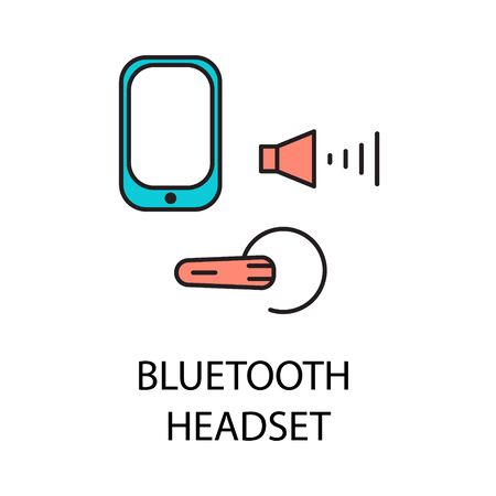 Bluetooth headset line icon. Vector symbol on the topic of personal devices. Color minimalist element for design of website, companys visit card Illustration