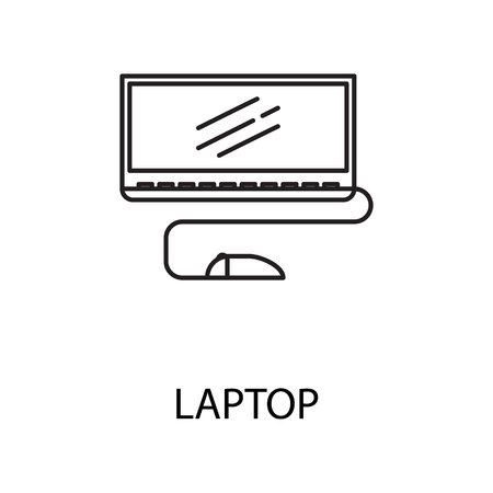 Laptop line icon. Vector symbol on the topic of personal devices. Black minimalist element for design of website, companys visit card Stock Photo