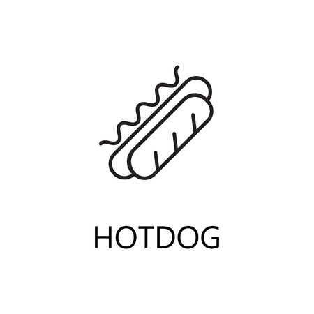 Hot Dog Line Icon Single High Quality Symbol Of Fast Food For