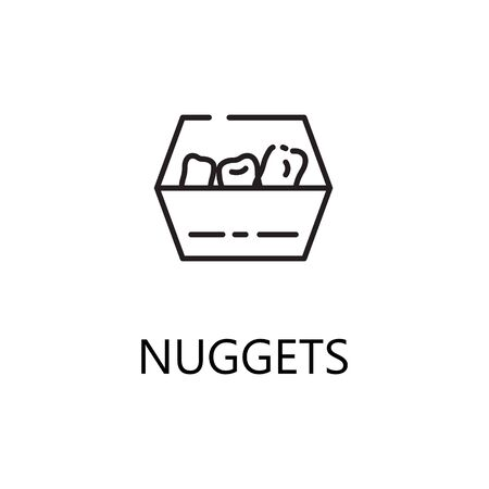 Nuggets Line Icon Single High Quality Symbol Of Fast Food For