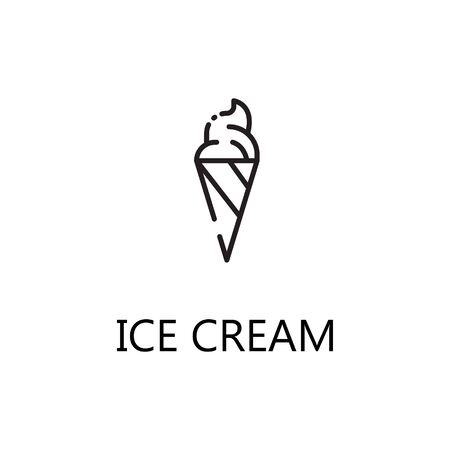 Ice cream line icon. Single high quality symbol of fast food for web design or mobile app. Thin line signs of ice cream for design , visit card, etc. Outline pictogram of ice cream. Illustration