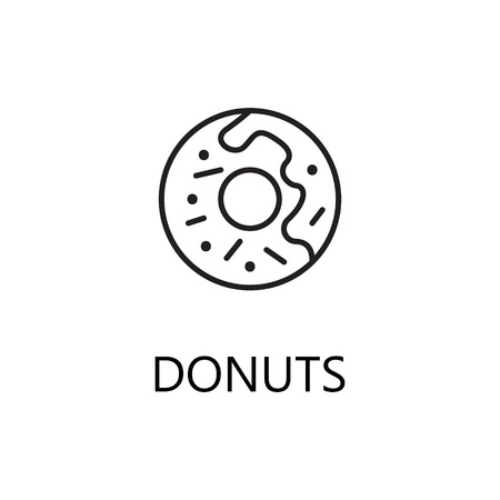 Donuts Line Icon Single High Quality Symbol Of Fast Food For