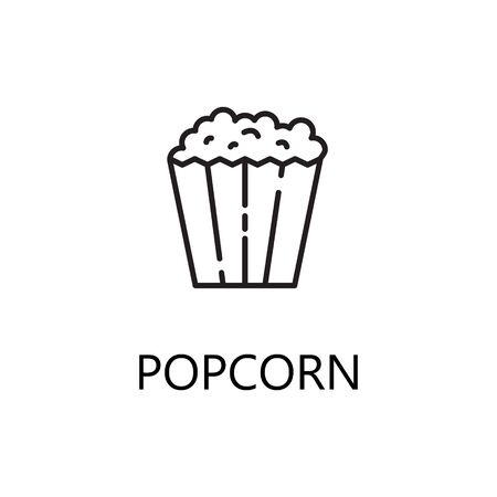 Popcorn Line Icon Single High Quality Symbol Of Fast Food For